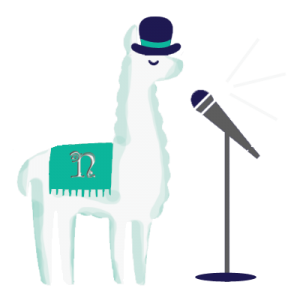 webpage, content, llama, microphone, top hat,